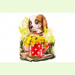 Собачка с одуванчиками