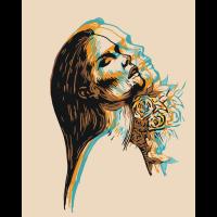 Девушка с розами. Абстракция