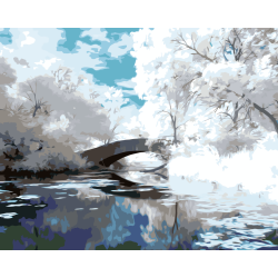 Картина по номерам - Мост в зимнем лесу