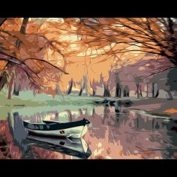 Картина по номерам - Лодка на озере