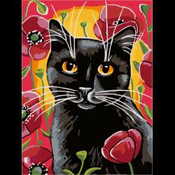 Картина по номерам - Кот в цветах