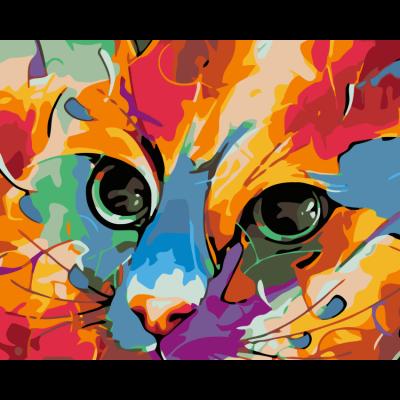 Картина по номерам - Абстракция. Разноцветный кот