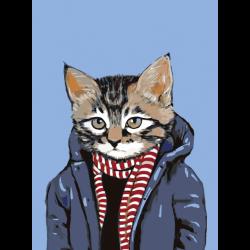 Картина по номерам - Кот в пальто