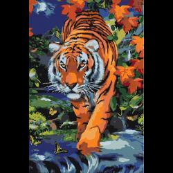 Тигр в осенних листьях