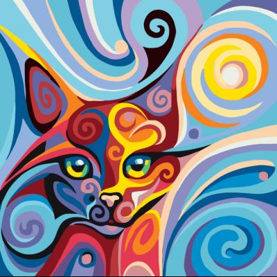 Картина по номерам - Абстракция Кошка