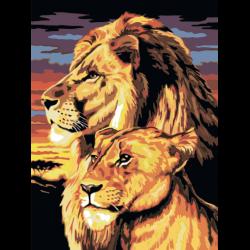 Картина по номерам - Львы в Африке