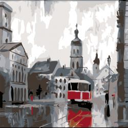Картина по номерам - городской трамвай