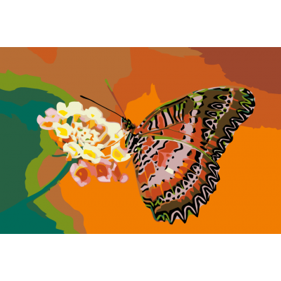 Картина по номерам - Бабочка на цветке