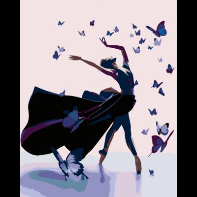 Картина по номерам - Балерина в бабочках