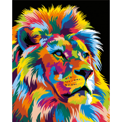 Картина по номерам -  Радужный лев 2