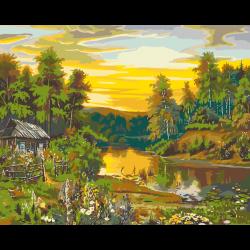 Картина по номерам - Лесной пейзаж с речкой