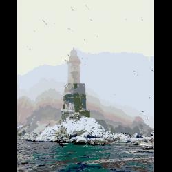 Картина по номерам - Маяк в море