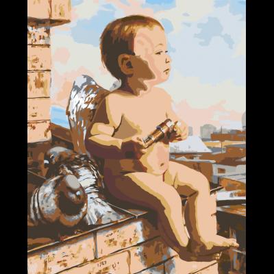 Картина по номерам - Ангелок на крыше