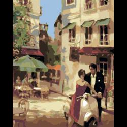Картина по номерам - Девушка на мопеде