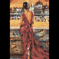 Дама в красном платье на набережной