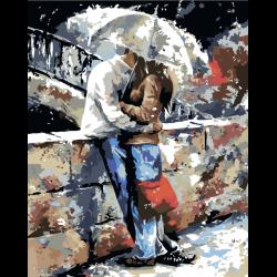 Поцелуй под зонтом на набережной