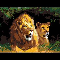 Картина по номерам - Львы в кустах