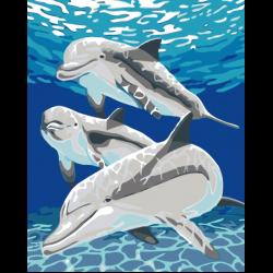 Картина по номерам - Дельфины под водой