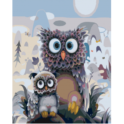 Картина по номерам - Сова с совенком
