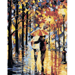 Картина по номерам - Двое осенью под зонтом