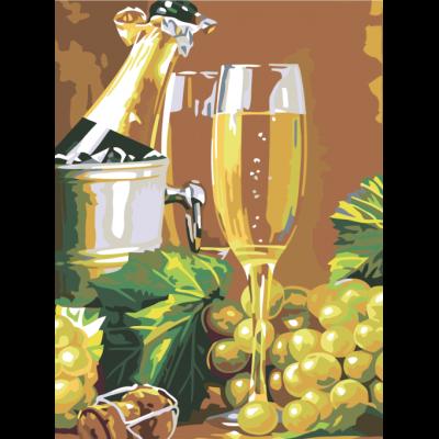 Картина по номерам -  Натюрморт с бокалом шомпанского