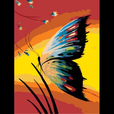 Картина по номерам - Бабочка на закате