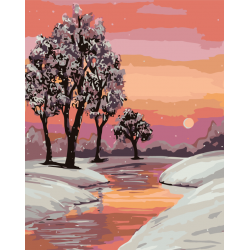 Картина по номерам, Розовый закат
