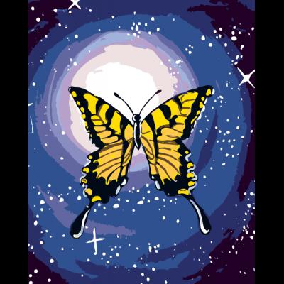 Картина по номерам - Бабочка под луной