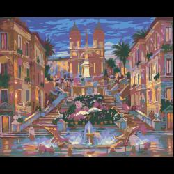 Картина по номерам, Площадь с фонтаном