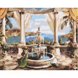 Балкон с фонтаном
