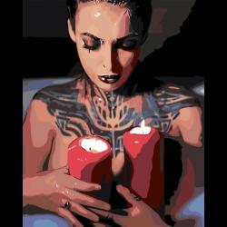 Картина по номерам - Девушка со свечами
