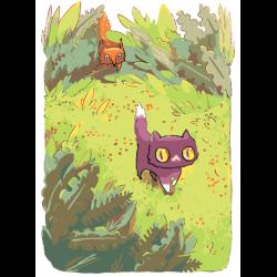 Картина по номерам - Котик и лиса