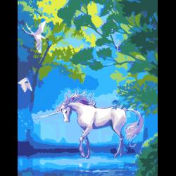Картина по номерам - Единорог в лесу